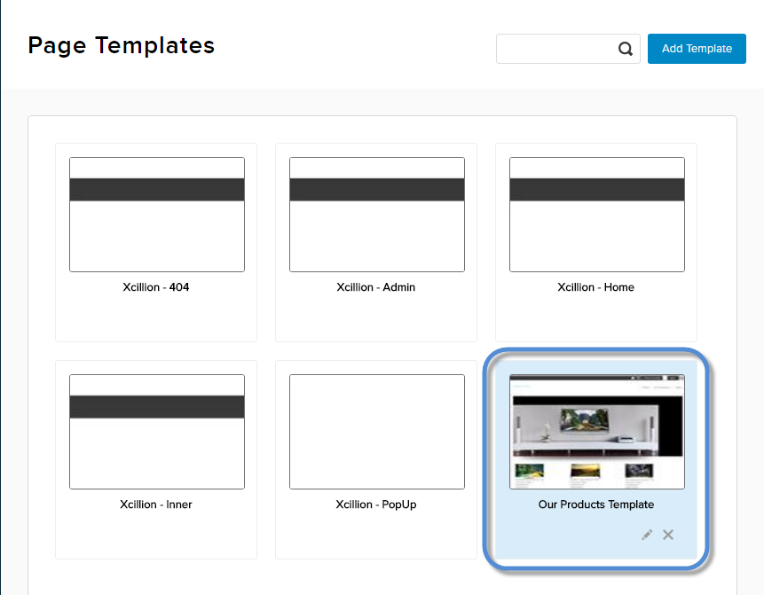 List of templates including the new template.