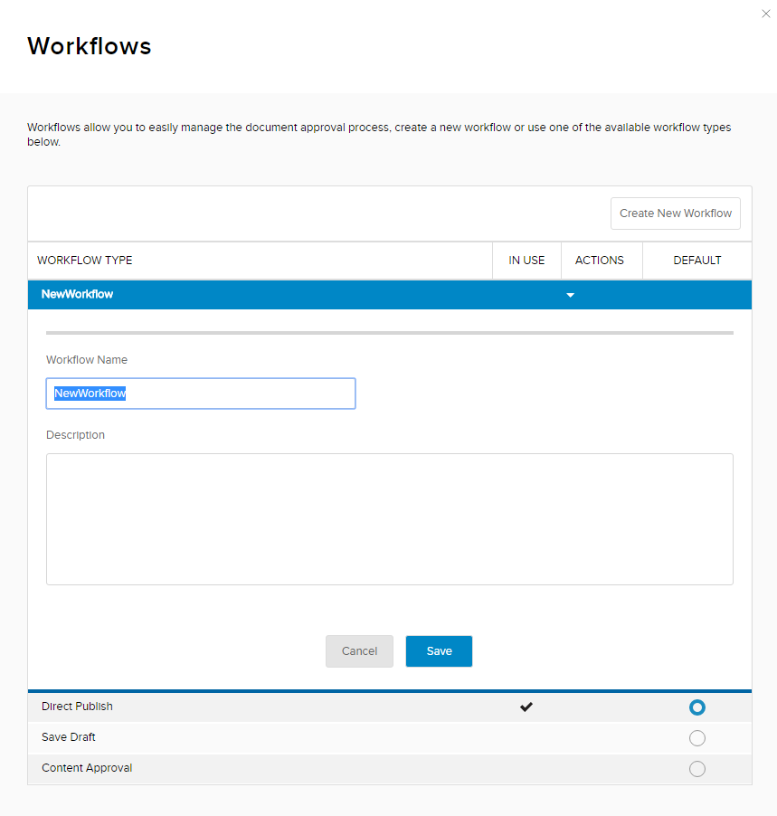 New Workflow form