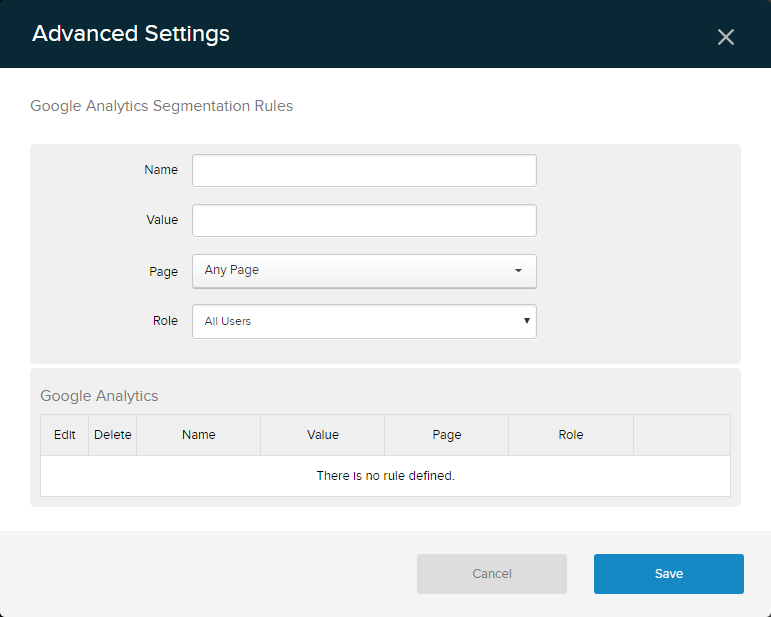 Google Analytics Advanced Settings