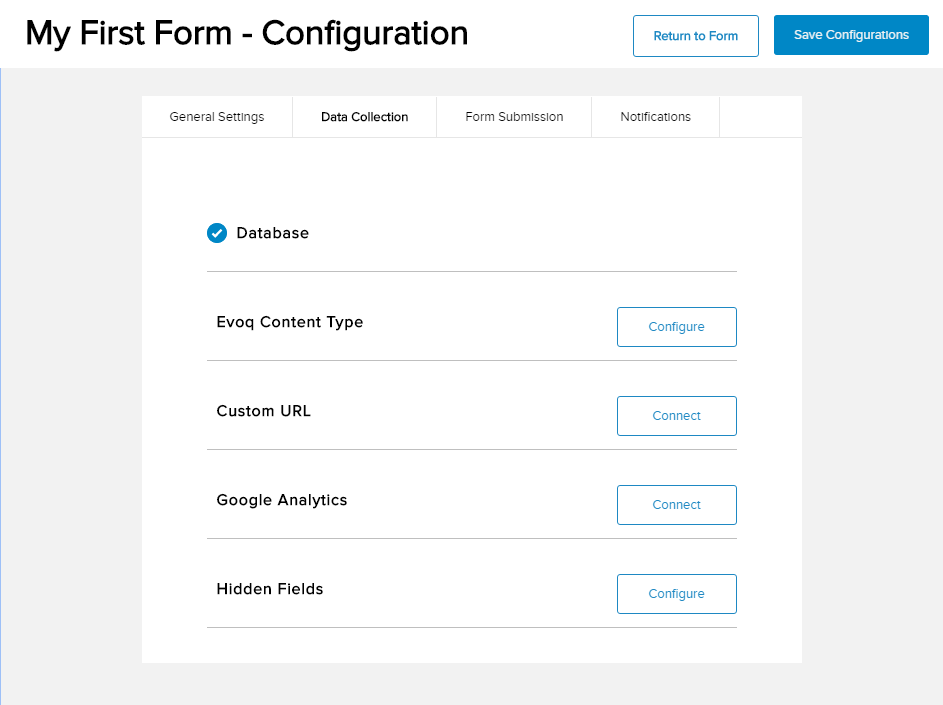 Form Configuration - Data Collection