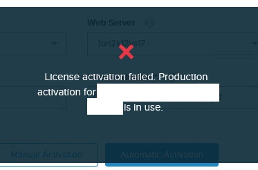 License activation error, production license in use